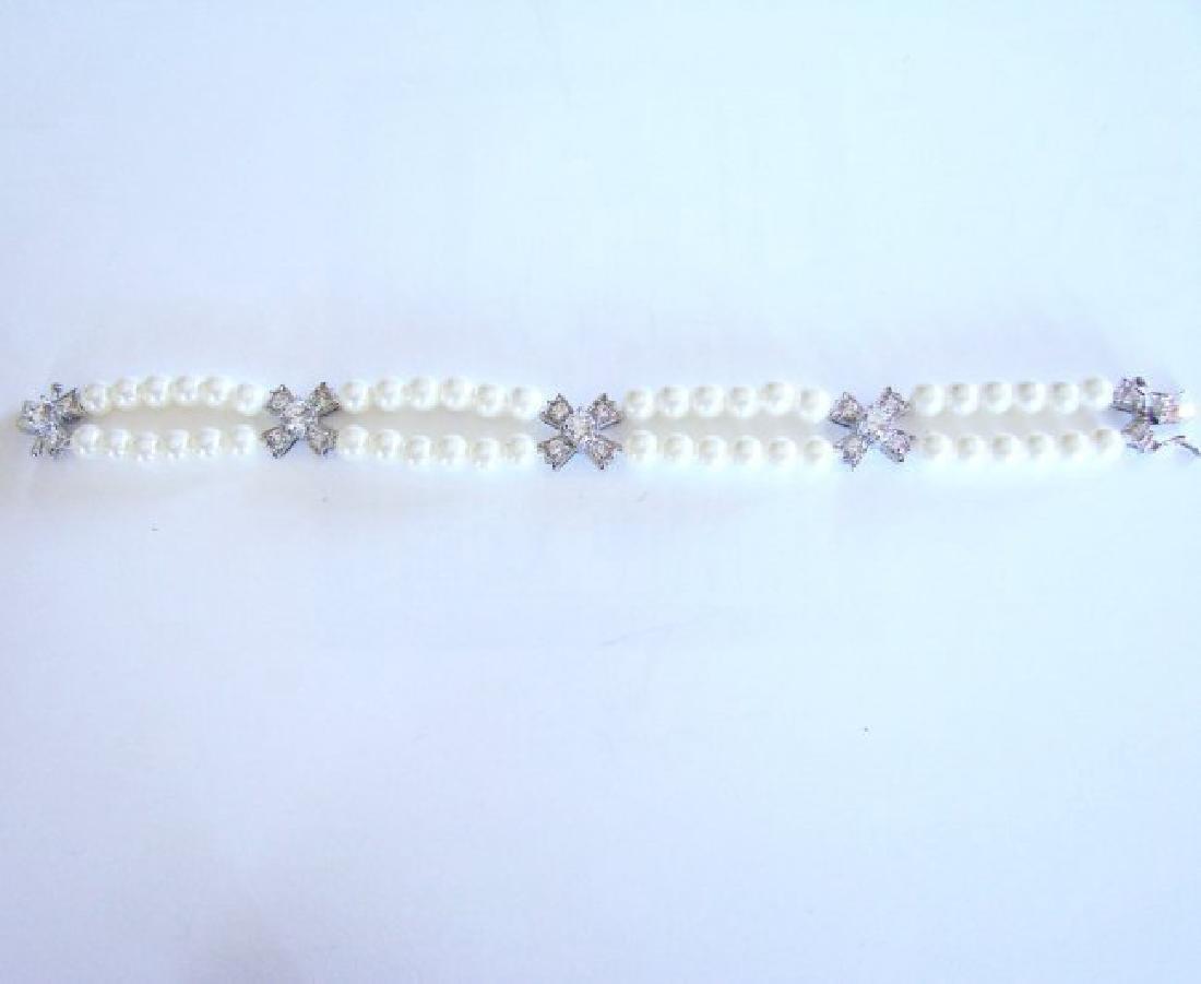 Bracelet Pearl Diamond Creation 4.65Ct 18k W/g Overlay - 6