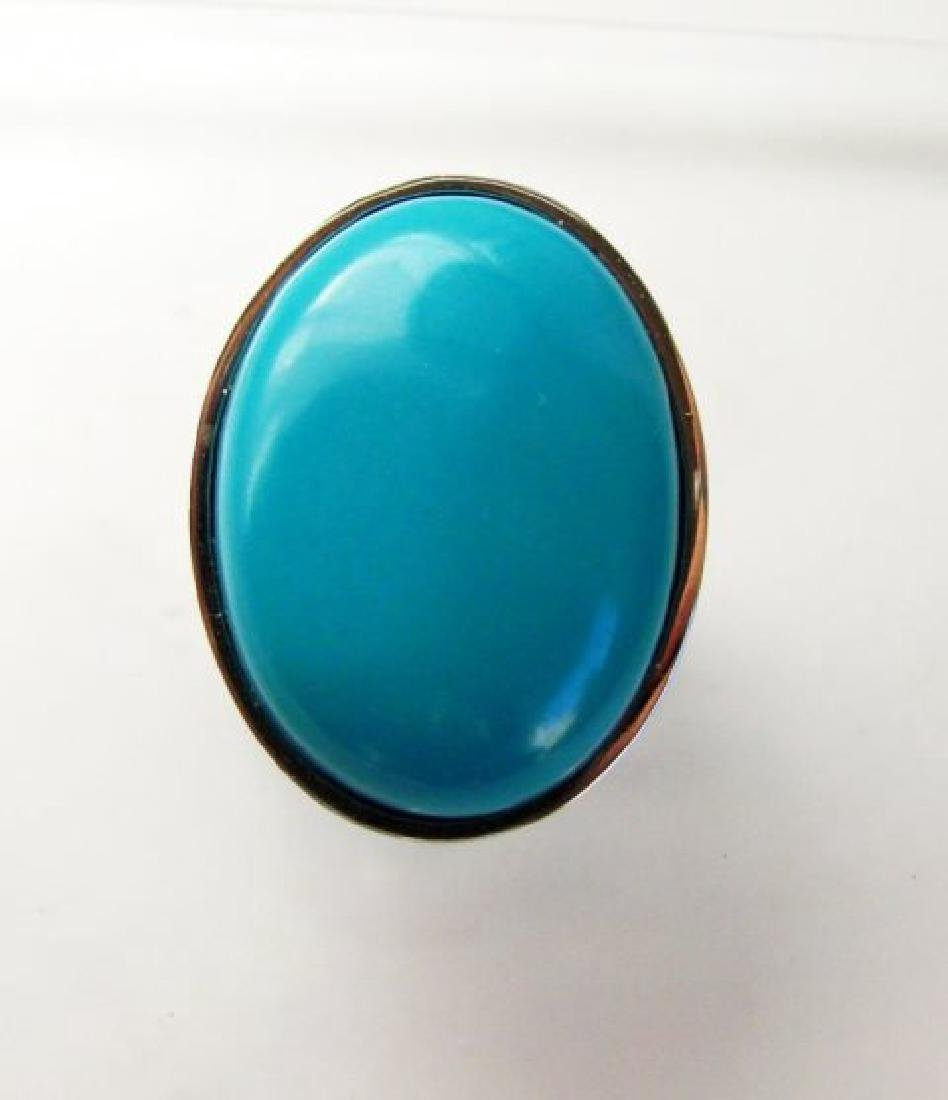 Creation Blue Turquoise Ring 27.00Ct 18k W/g Overlay
