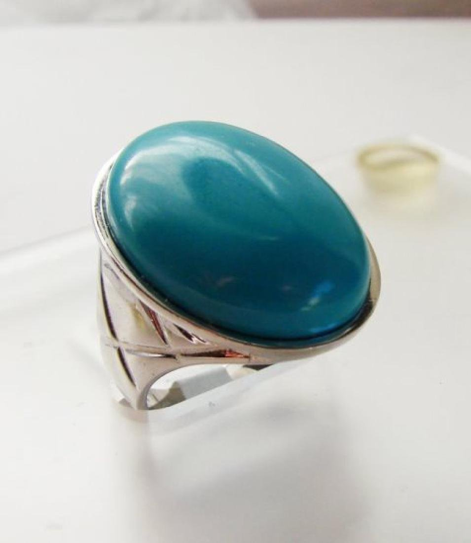 Creation Blue Turquoise Ring 27.00Ct 18k W/g Overlay - 2