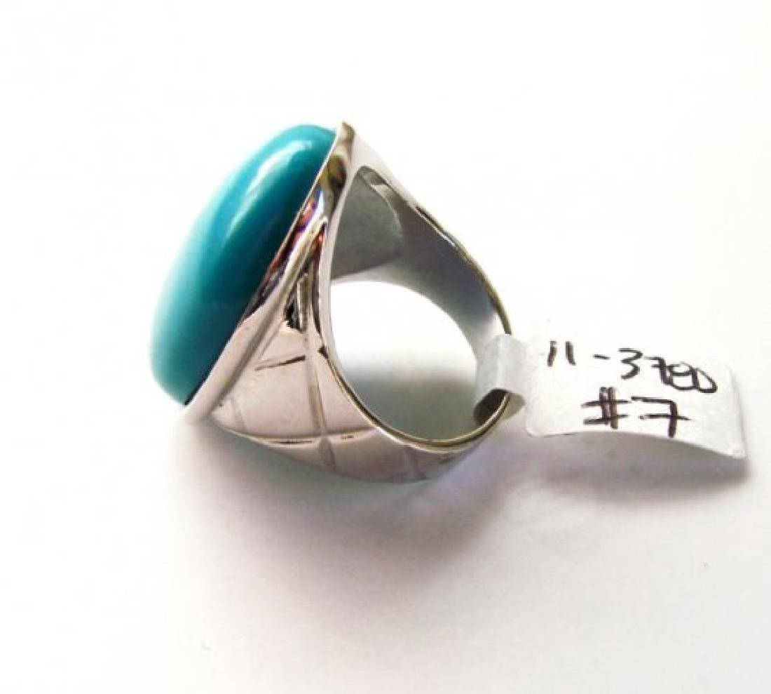 Creation Blue Turquoise Ring 27.00Ct 18k W/g Overlay - 4