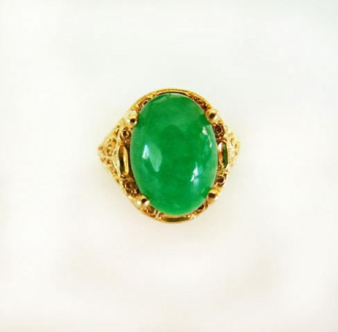 Antique Ring Jadeite Jade 6.82 Carat 18k Yellow Gold - 5