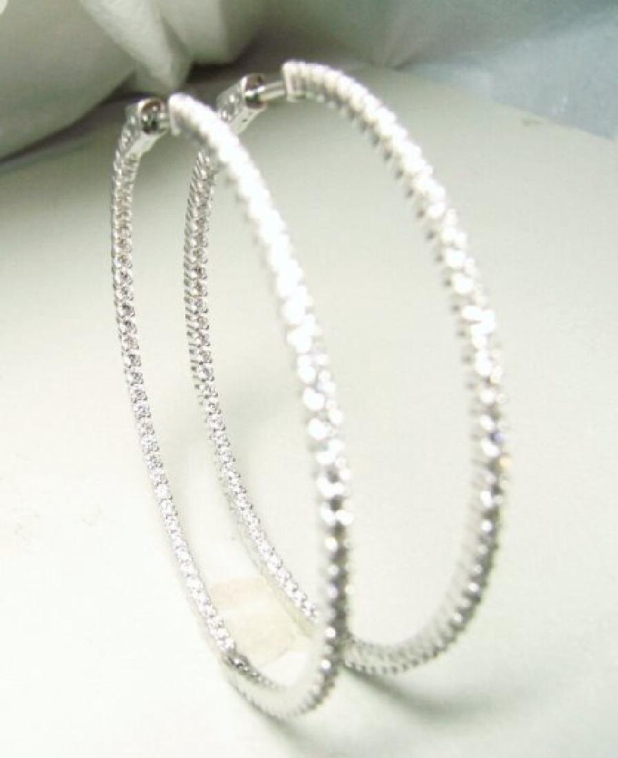 Creation Diamond Hoop Earring 2.35Ct 18k W/g Overlay - 2