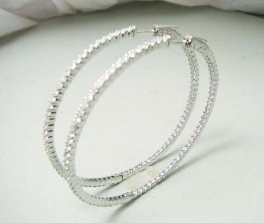 Creation Diamond Hoop Earring 2.35Ct 18k W/g Overlay - 3