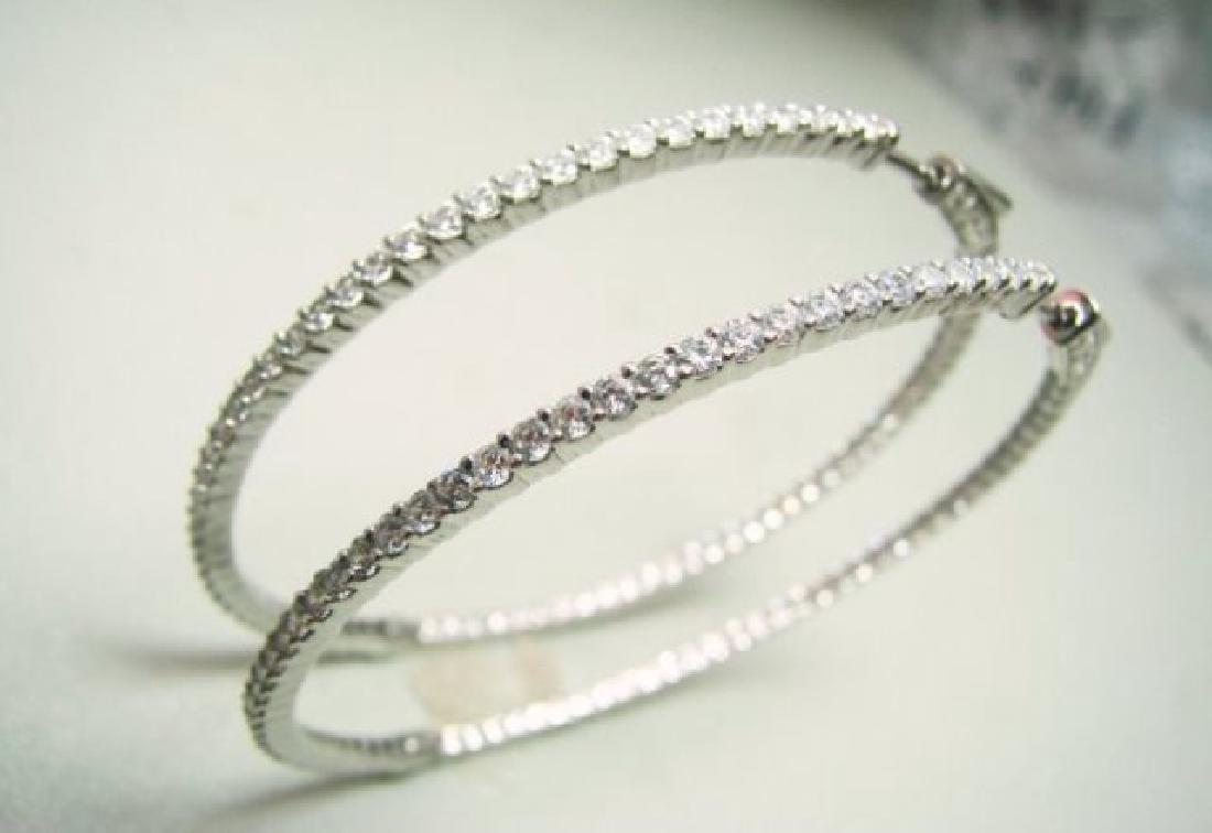 Creation Diamond Hoop Earring 2.35Ct 18k W/g Overlay - 4