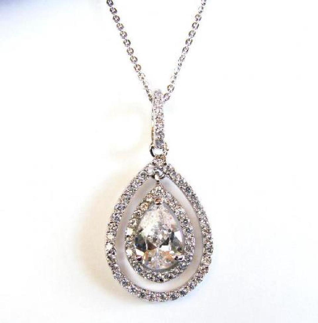 Creation Diamond/ Pear Shaped Necklace 2.32 Carat