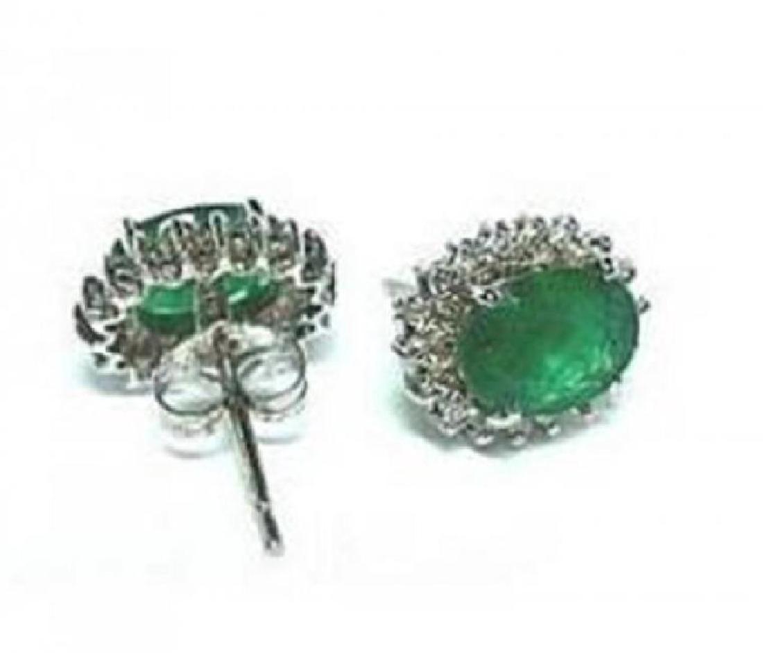 Earrings Natural Emerald Diamond 5.39Ct 14k W/g