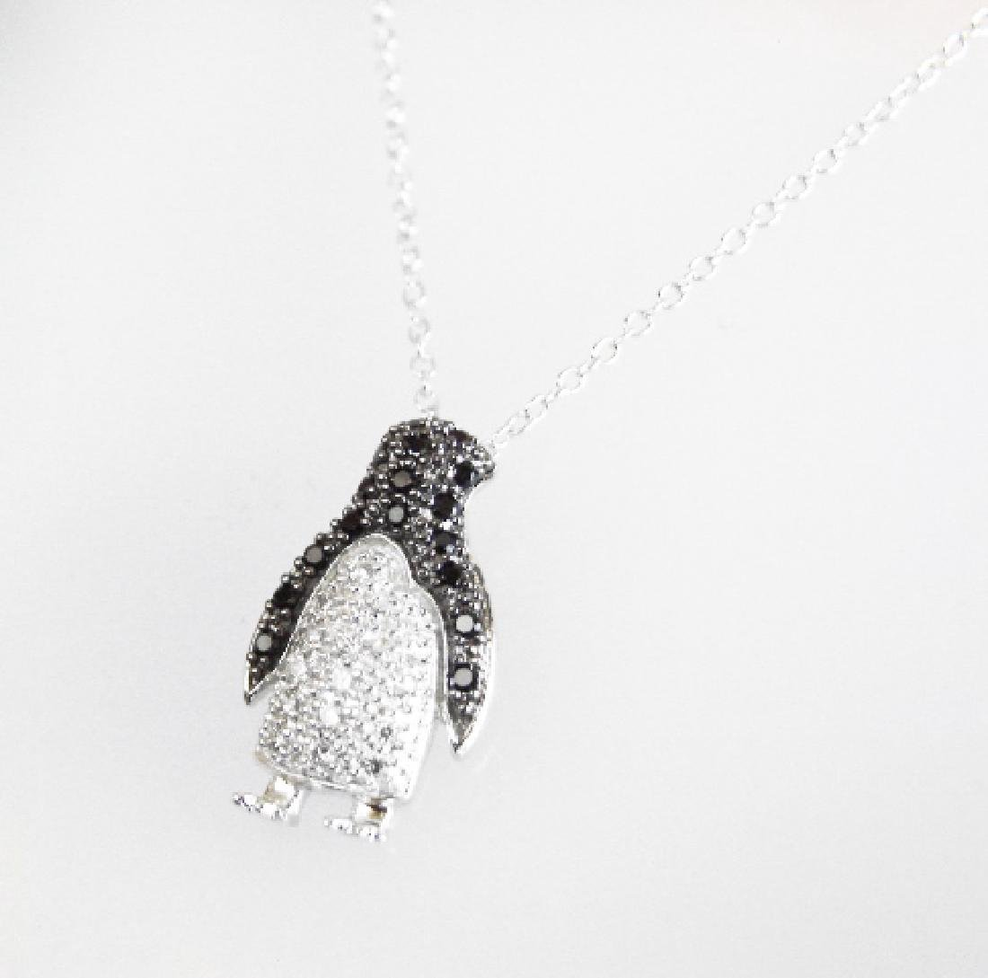 Creation Diamond W/B .85 CT Necklace 18k Y/G Overlay