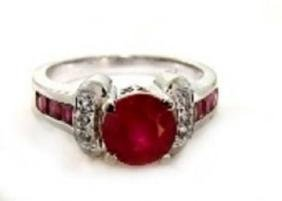 Anniversary Ruby Diamond Ring 2.81Ct 14k W/g