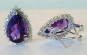 Amethys: 10.80CT, Diamond: .75CT Earrings 14k W/g