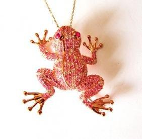 Creation,Diamond Pink Sph Frog 9.15Ct 18k R/g Overlay