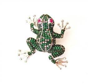 Creation,Diamond MutiColor Frog 9.15Ct 18k W/g Overlay