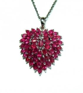 Natural Ruby Marquise Pendant 13.45Ct 18k W/g Overlay