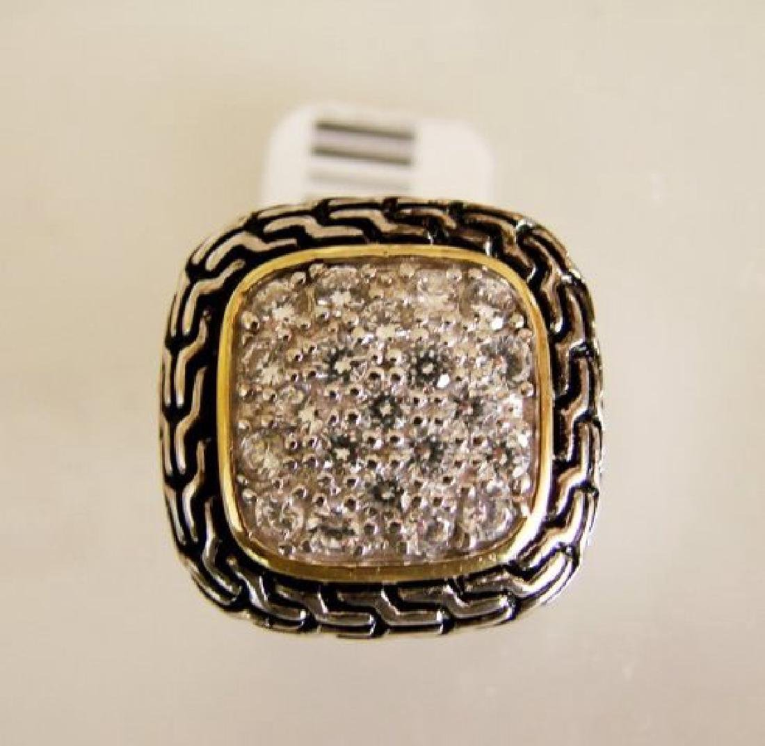 Creation Diamonds Ring .65Ct 18k W-B-Y/g Overlay