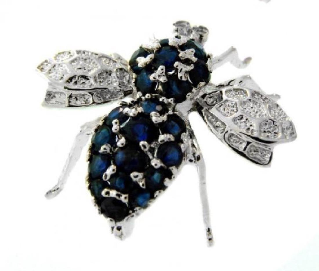 Bee Brooch Pins Sapphire Diamond 1.25Ct 14K W/g