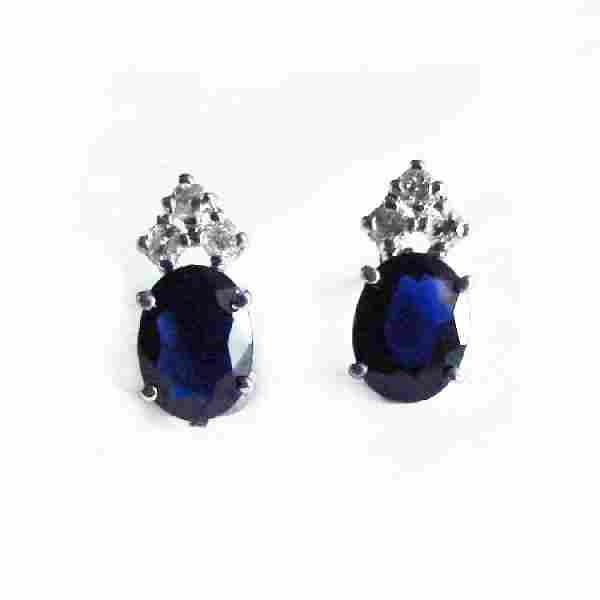 Blue Sapphire Diamond Stud Earrings 2.90Ct 14k W/G