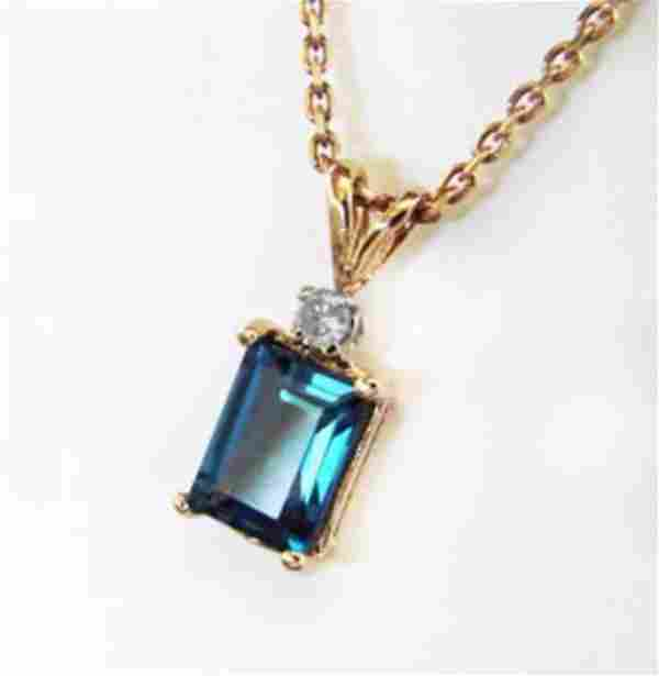 Diamond London Blue Topaz Pendant 3.07Ct 14k Y/G