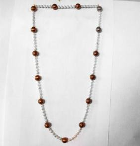 "Chocolate Swarovski Culture Pearl Necklace 25""inch"