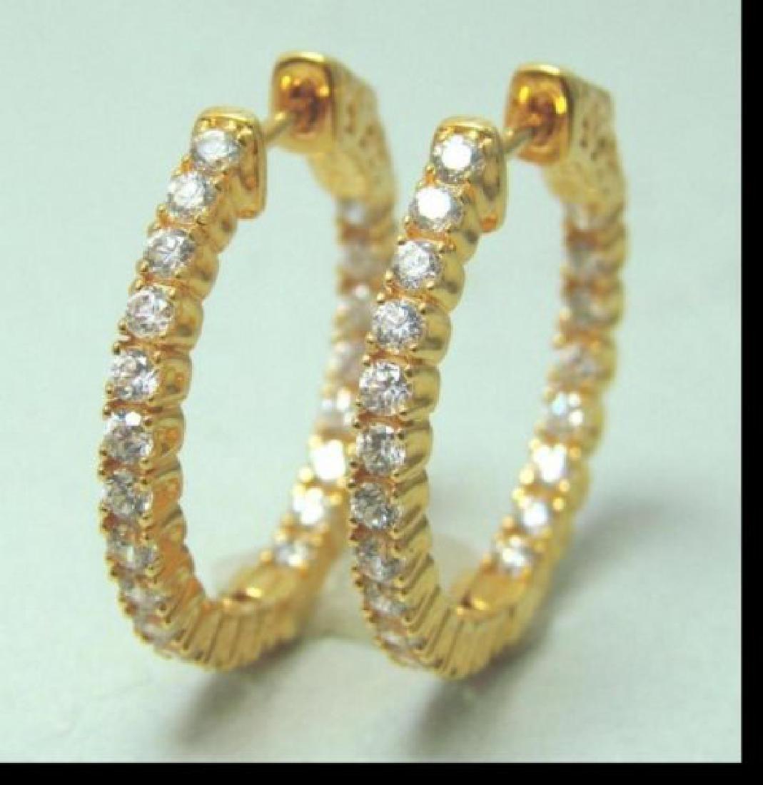 Creation Diamonds 1.12Ct Earrings 18k Y/g Overlay