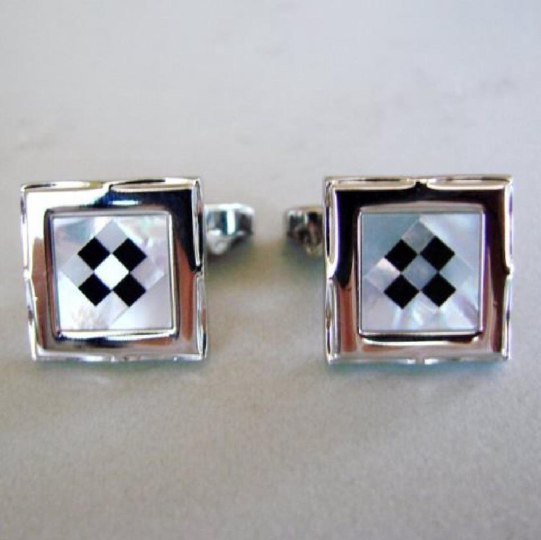 Men Cufflink Stainless Onyx Mother Pearl 9.58Ct