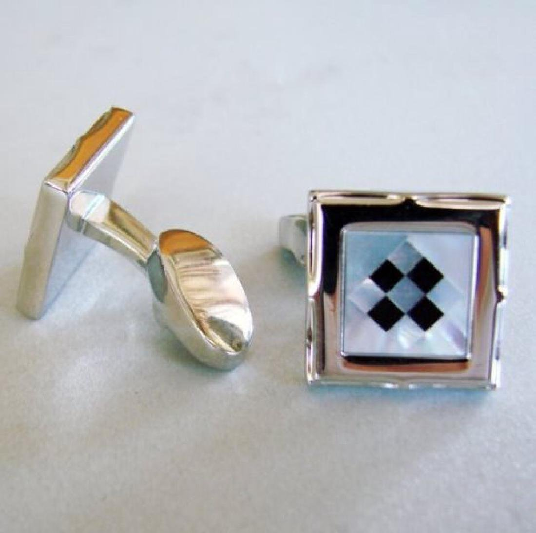 Men Cufflink Stainless Onyx Mother Pearl 9.58Ct - 2