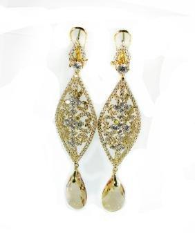 Creation Citrine/diamond Earrings 9.91 Ct 18 Ky/g