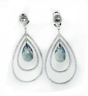 Creation Blue Topaz/diamond Earrings 8.109 Ct 18 K W/g