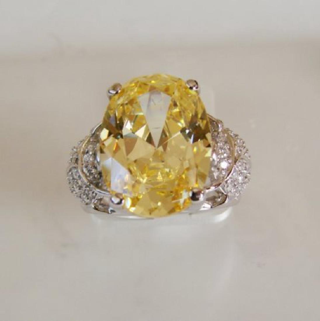 Creation Diamonds Ring 6.55ct 18k W-Y/g Overlay