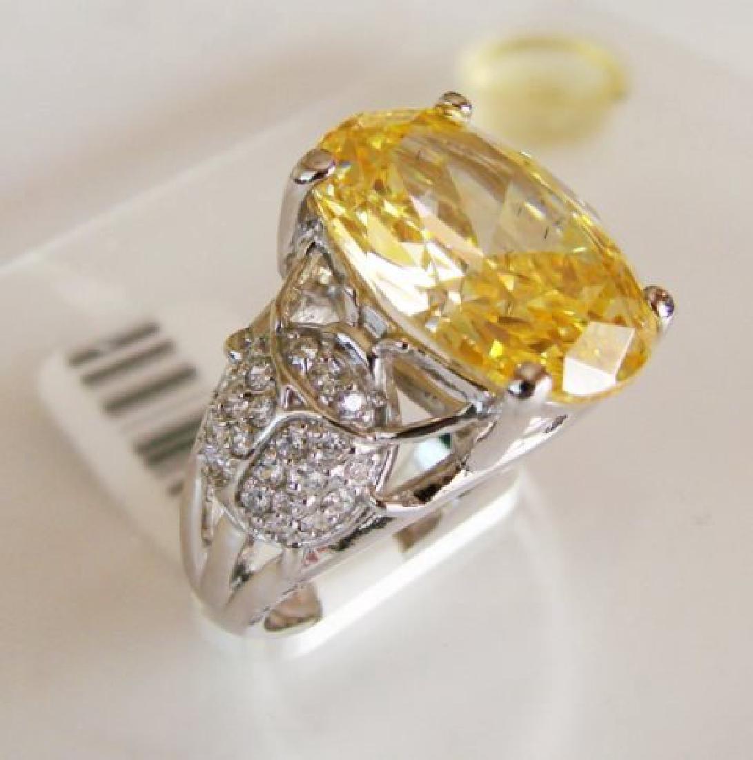 Creation Diamonds Ring 6.55ct 18k W-Y/g Overlay - 2