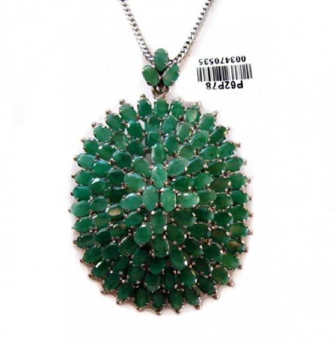 Natural Gem: Emerald Pendant 31.Carat 18k W/g Overlay