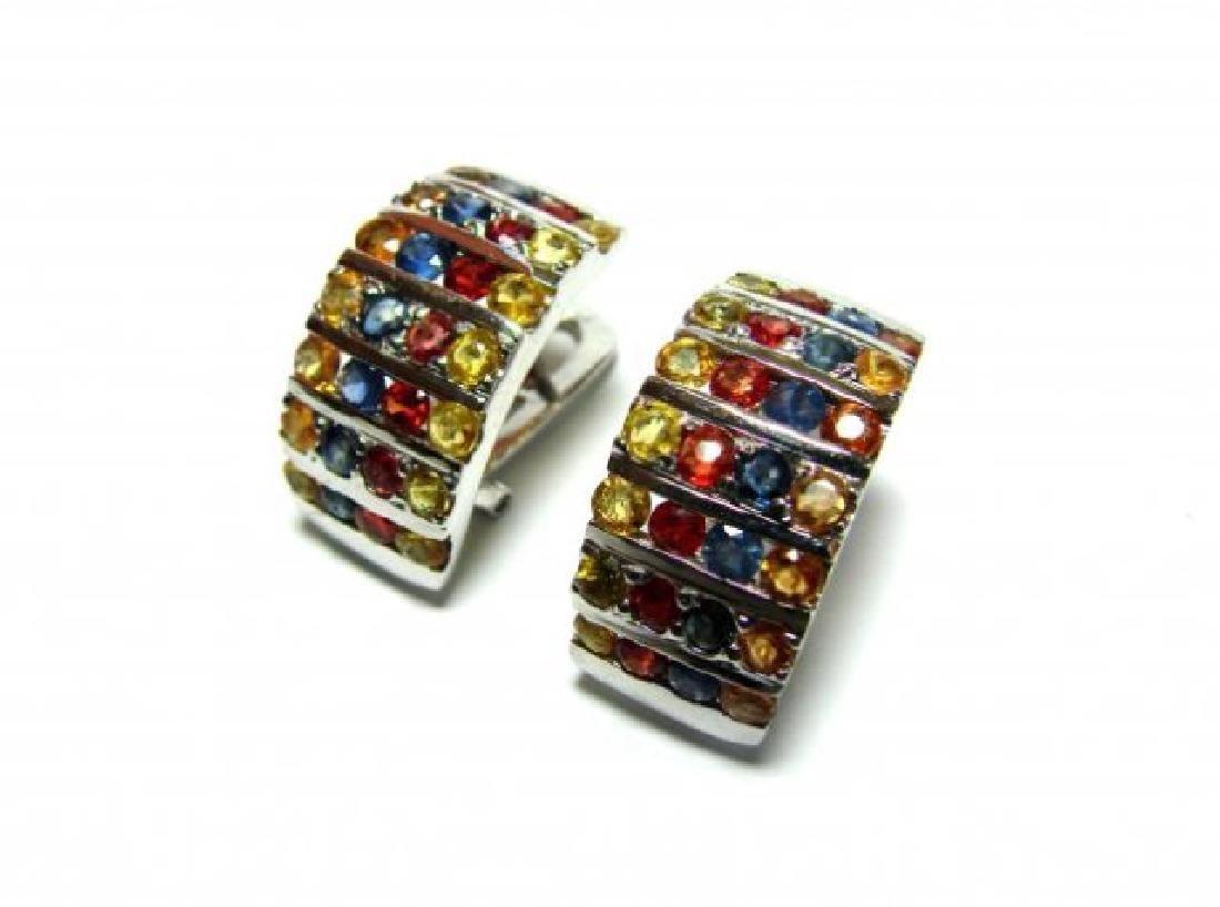 Gem: Mullti-Color Earrings 5.20 Ct18k B/g Overlay