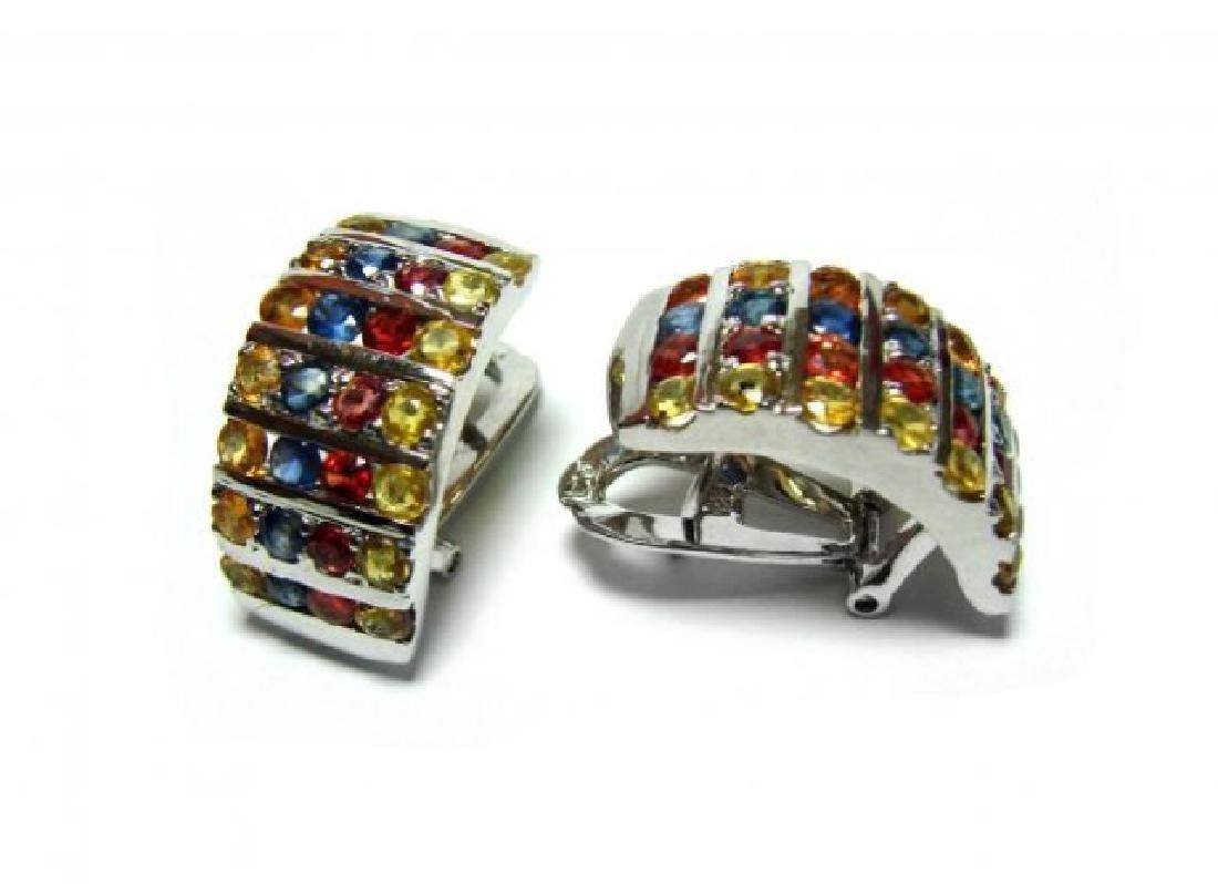 Gem: Mullti-Color Earrings 5.20 Ct18k B/g Overlay - 2