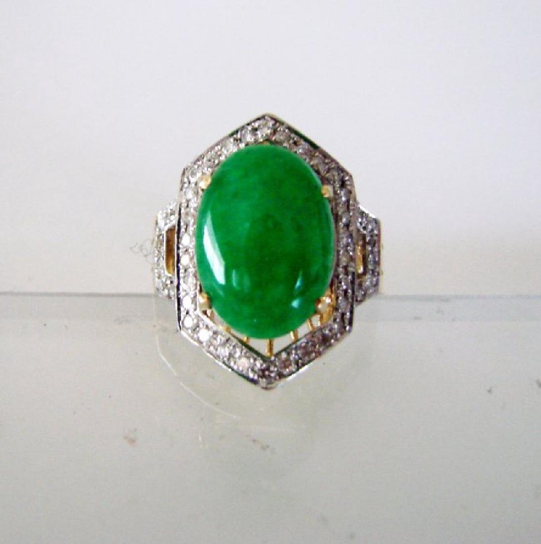 Natural Diamond- Jadeite Jade Ring 4.72Ct 18k Y/g