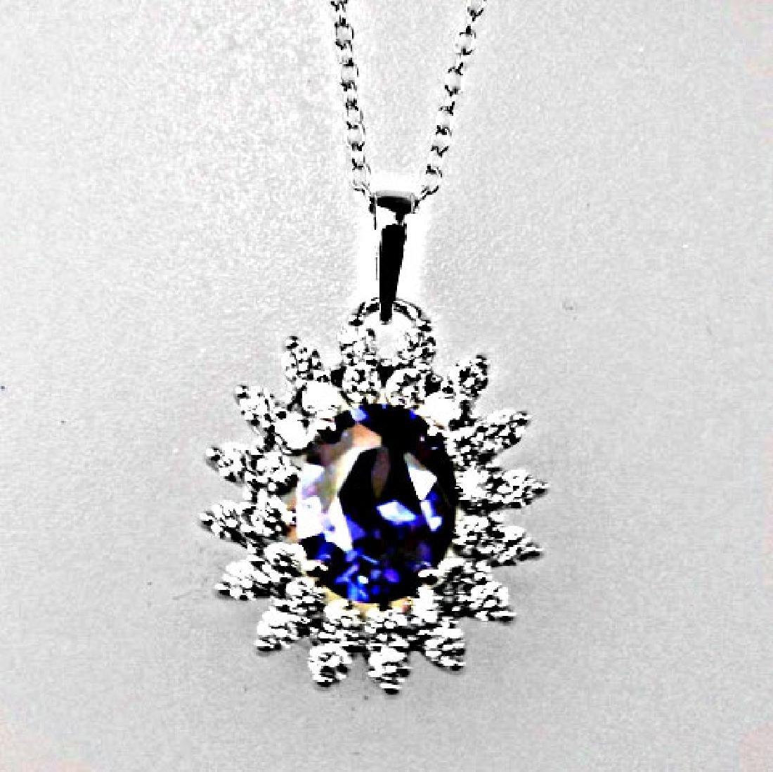 Creation Diamond/Tanzanit Necklace 3.08CT 18k W/G Over