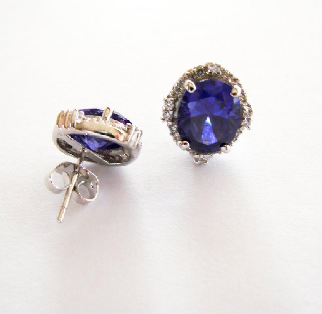 Creation Diamond/Tanzanite Earrings 10.76Ct 18k W/g