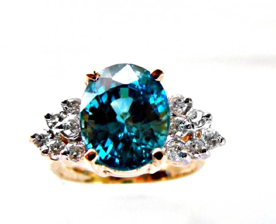 Natural Blue Zircon Ring: 7.22Ct Dia .54Ct 14k Y/g