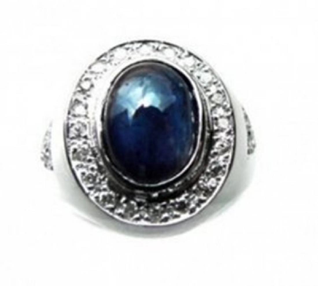 Man's Sapphire, Diamond Ring 4.75Ct 14k W/g