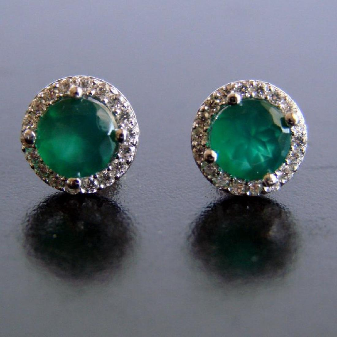 Creation Diamond & Emerald Stud Earring 2.62Ct 18k W/g