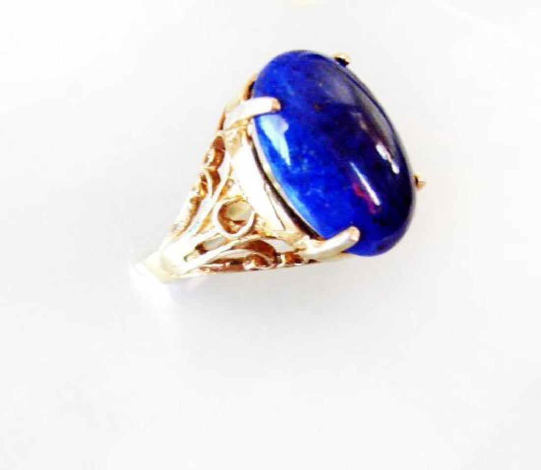 Natural Blue Lazuli Ring 16.70Ct 14k Y/g - 2