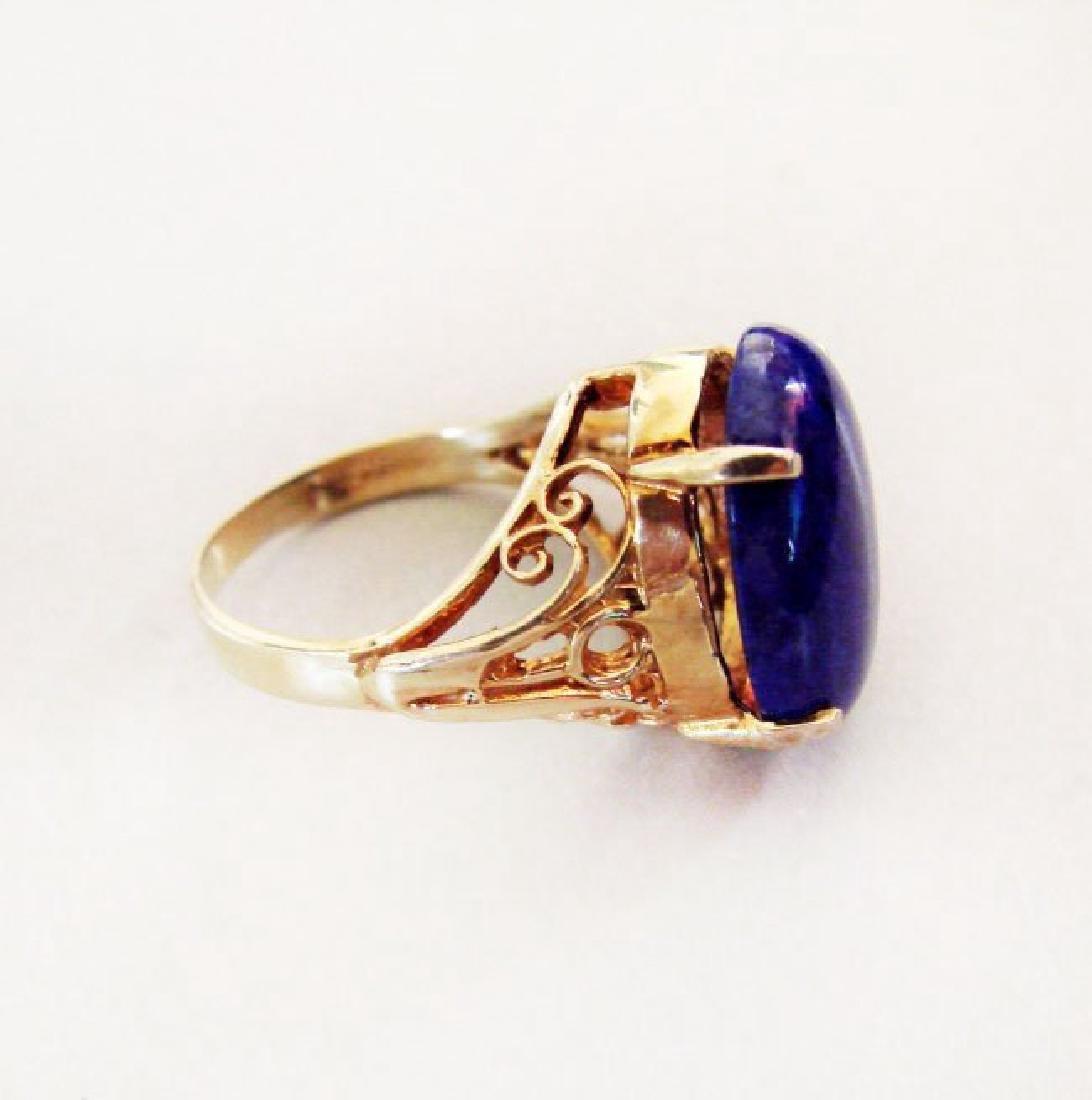 Natural Blue Lazuli Ring 16.70Ct 14k Y/g - 4