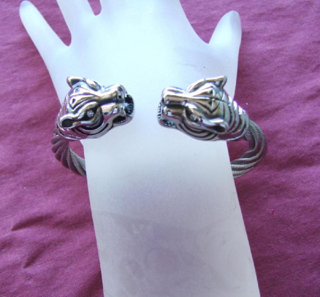 Men Bracelet Stainless Steel Design Tiger White