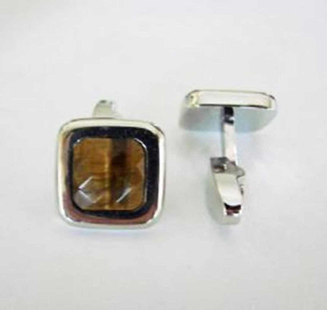 Men Cufflink Tiger Eye 18k W/g Overlay