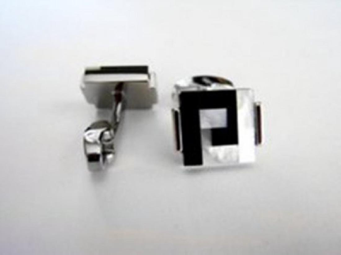 Men Cufflink with Mabe Pearl /Onyx 18k W/g Overlay - 2