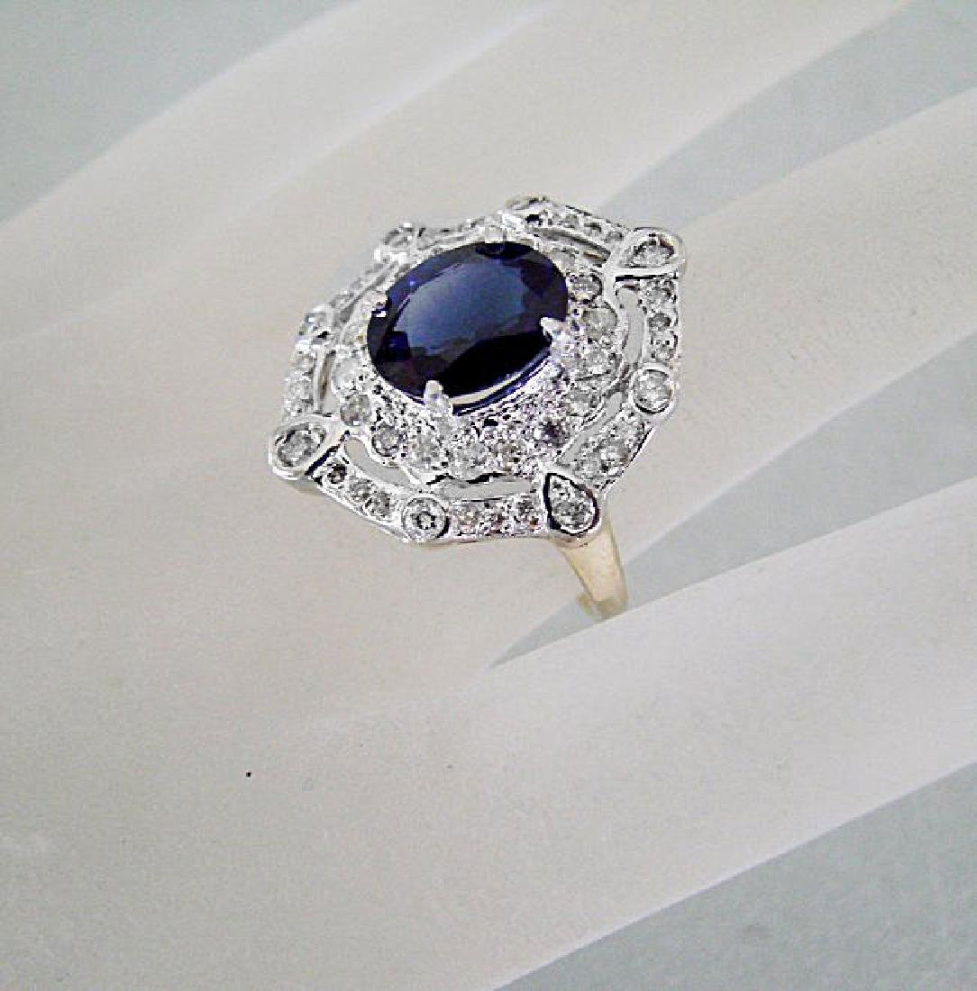 Ring Natural Blue Sapphire Diamond 4.33Ct 14k Y/g - 3