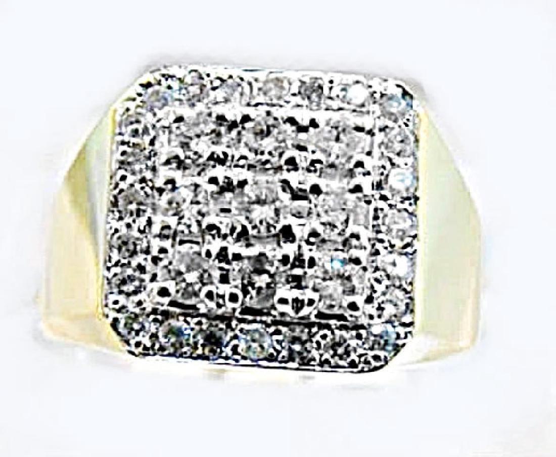 Man's Diamond Ring 1.70Ct  14k Yellow Gold