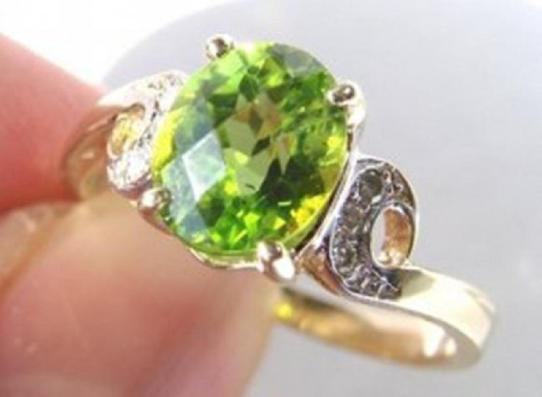 Anniversary Peridot Diamond Ring 1.67Ct 14k Y/g