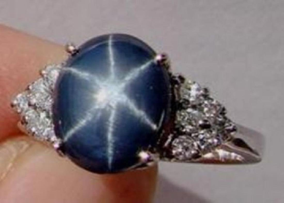 Star Sapphire Ring 3.24Ct & Diamond .42Ct 14k W/g