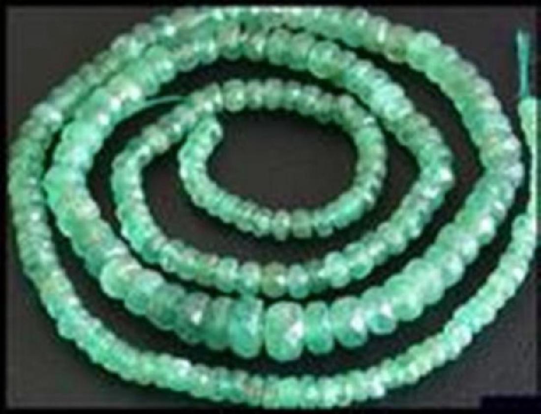 "Natural Emerald Bead Strand 63Ct 20"" 3.5x4.5x5mm"