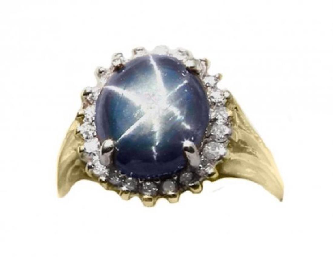 Blue Star Sapphire Ring: 3.57Ct: Dia.50Ct 14k Y/g