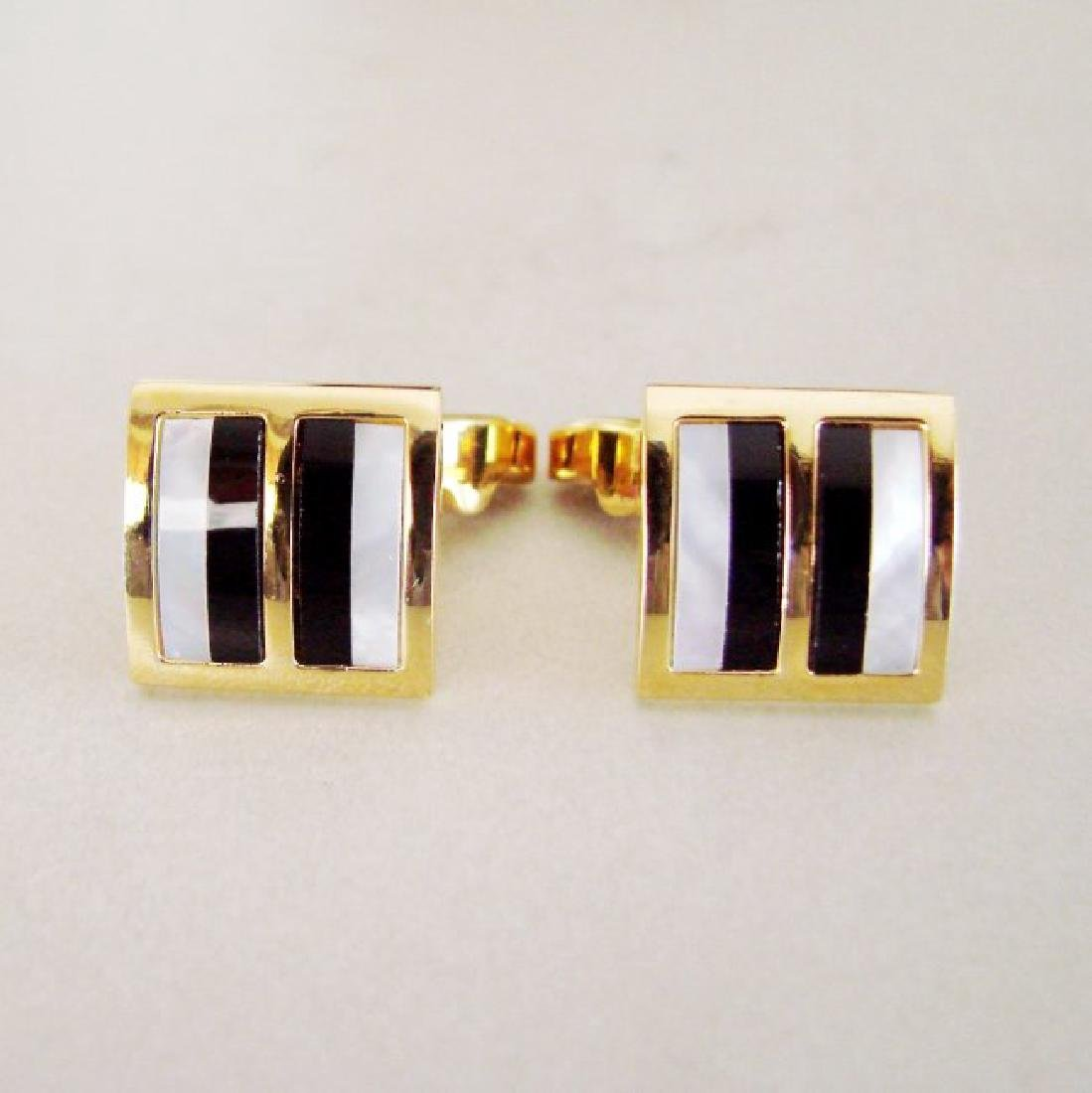 Men Cufflink Stainless Mother Pearl Onyx 18k Y/g Over