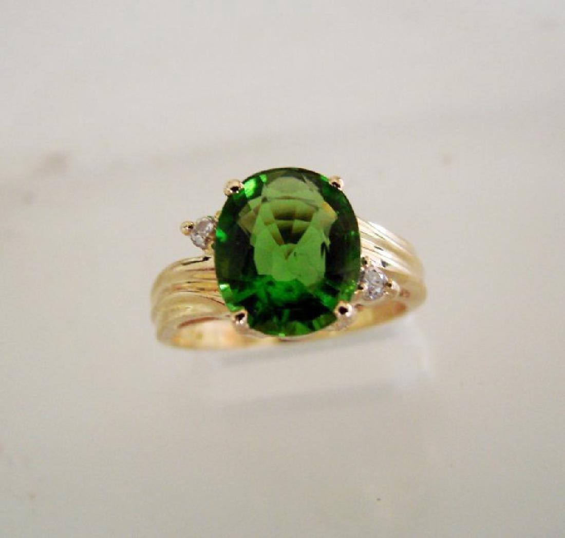 Natural Green Tsavorite Diamond 3.59Ct 14k Y/g
